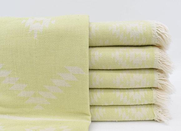 Pistachio jacquard Turkish beach towel