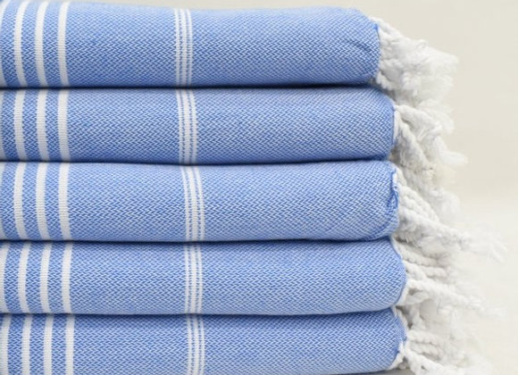 Blue striped Hammam Turkish beach towel