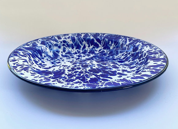 24cm plate in blue and white splash effect enamel