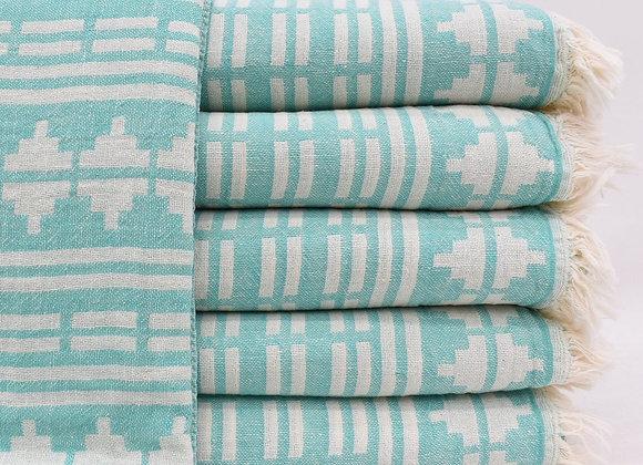 Mint Aztec jacquard Turkish beach towel