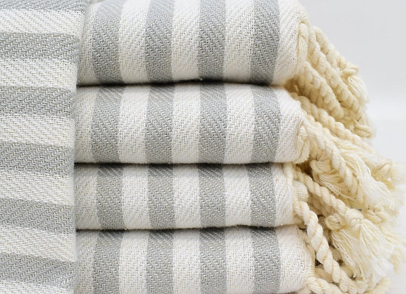 Striped hand towel - Grey