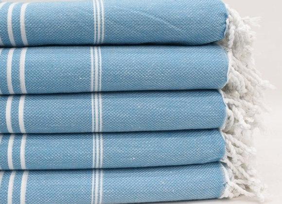 Petrol blue striped Hammam Turkish beach towel