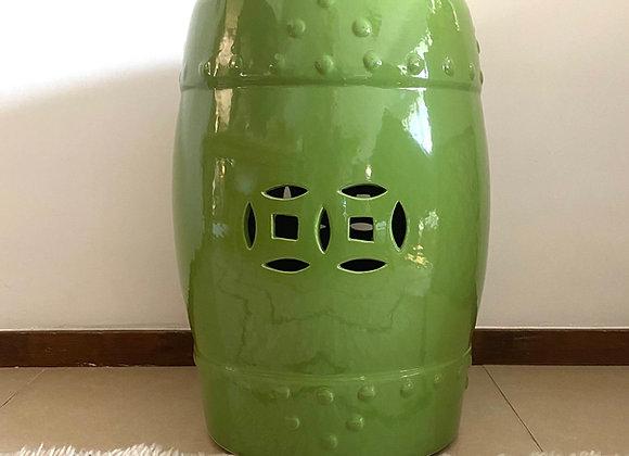 Green ceramic stool
