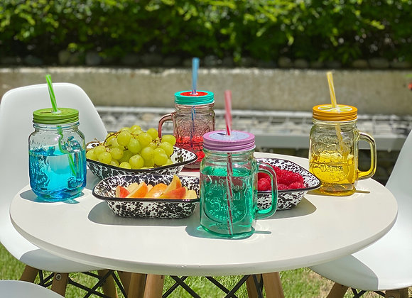 Mason jar cups with lids and straws