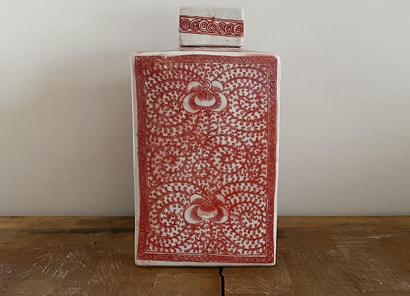 Small antique replica coral red Ginger jar