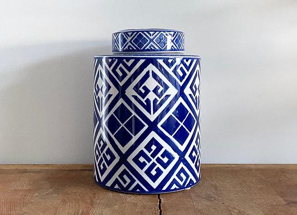 "Medium blue and white ""diamond"" Ginger jar"