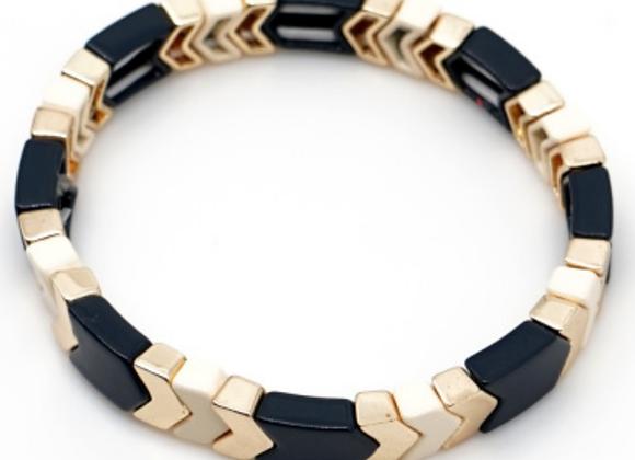 Black, peach and gold arrow enamel beaded bracelet