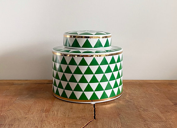 Small green, white and gold Ginger jar