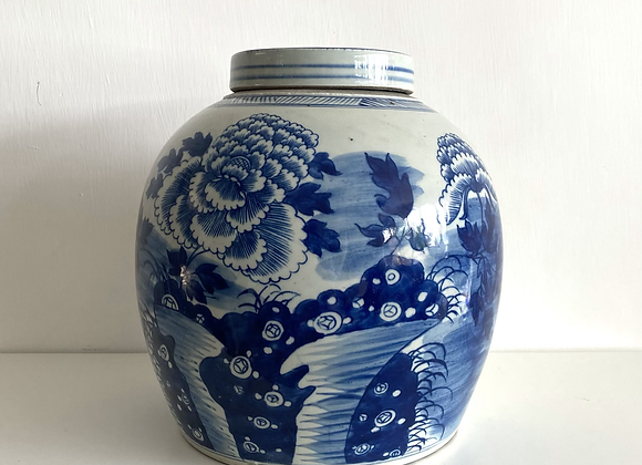 Old ginger jar with peonies
