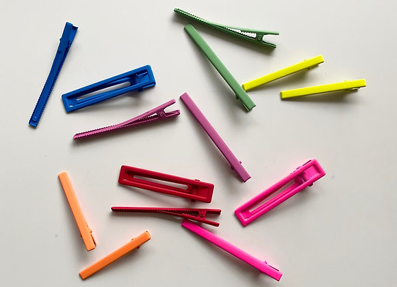 6cm Neon powder coated hairclips - Various colours