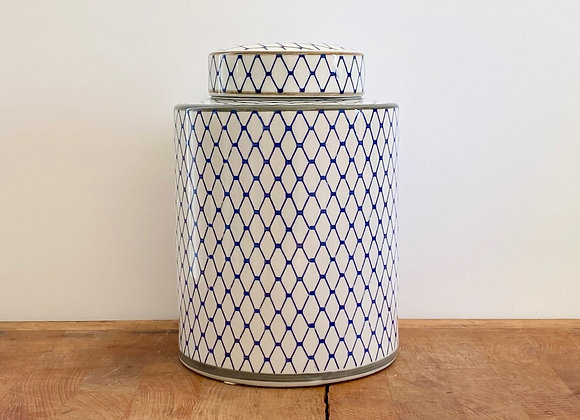 "Medium blue and white ""net"" Ginger jar"