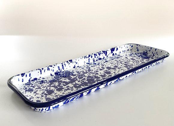 Enamel Blue and white splatter serving tray