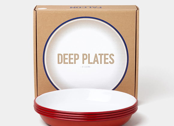 4 pack of Falcon enamel 22cm deep plates - Pillarbox Red