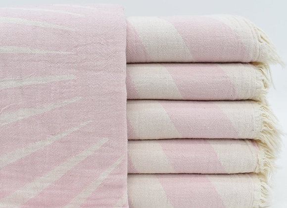 Pale pink sunray jacquard Turkish beach towel