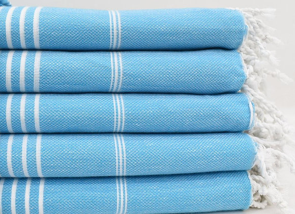Double size Turquoise striped Hammam Turkish beach towel