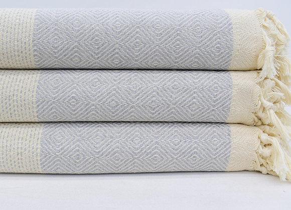 King size Grey and Cream diamond Turkish blanket/throw