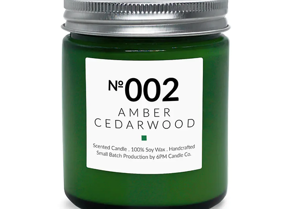 002 Amber Cedarwood 6PM Candle