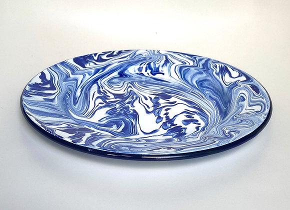 25cm Plate Blue & white marble effect enamel