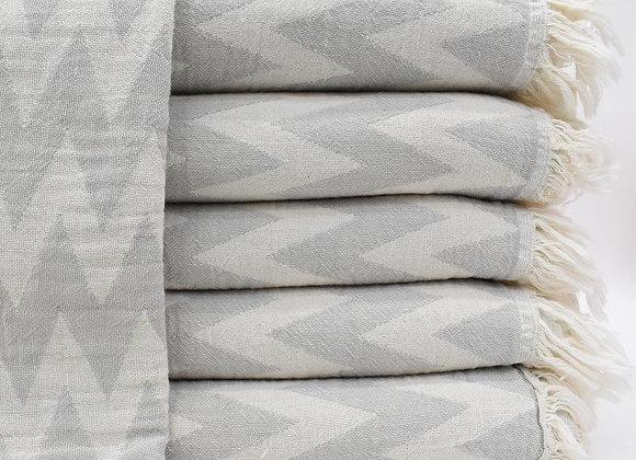 Grey zig zag Turkish beach towel