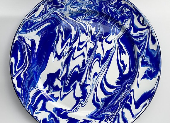30cm Large serving plate in blue and white marble effect enamel