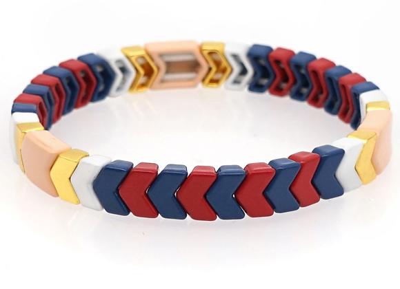 Navy and Red arrow enamel beaded bracelet
