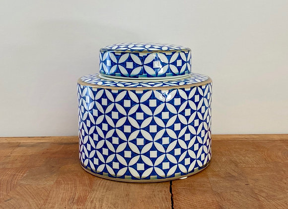 "Small blue and white ""copper coin"" Ginger jar"