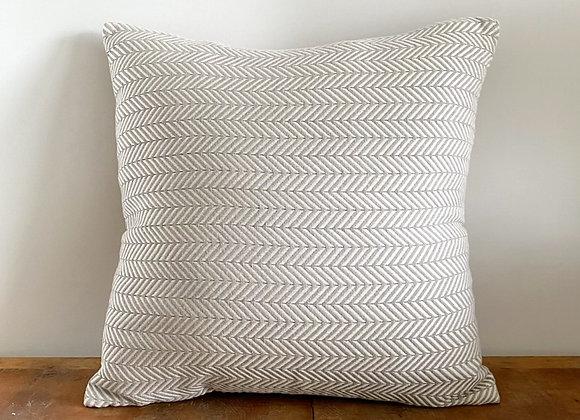 Pale grey and cream herringbone cushion cover 50x50cm