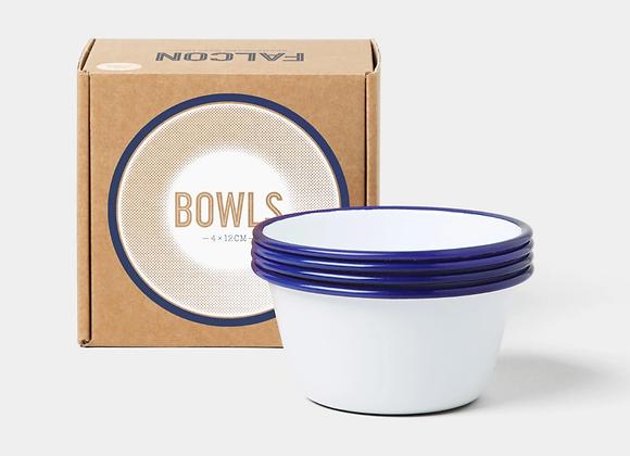 4 pack of Falcon enamel 12cm bowls