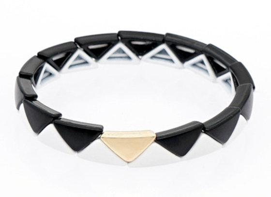 Black and white enamel beaded bracelet