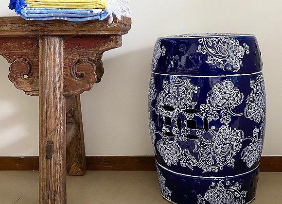 Navy and white lotus ceramic stool