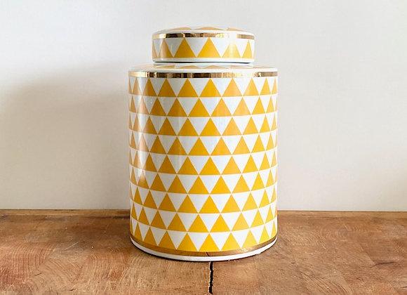 Medium yellow, white and gold Ginger jar