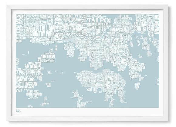 HK map typography print