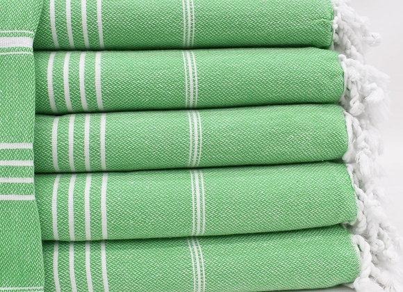 Green striped Hammam Turkish beach towel