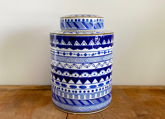 "Medium blue and white ""eye"" Ginger jar"