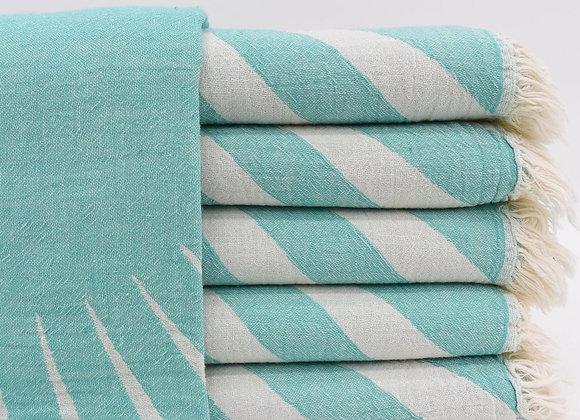Mint sunray jacquard Turkish beach towel