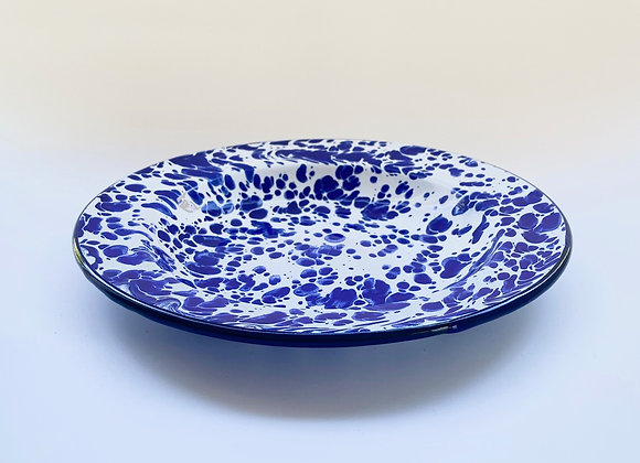 20cm side plate in blue white splash effect enamel