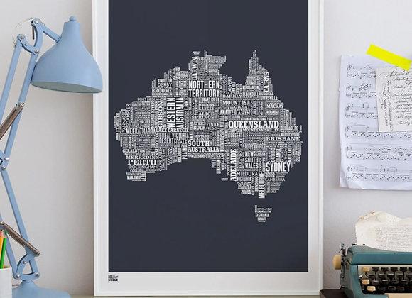 Australia map typography print