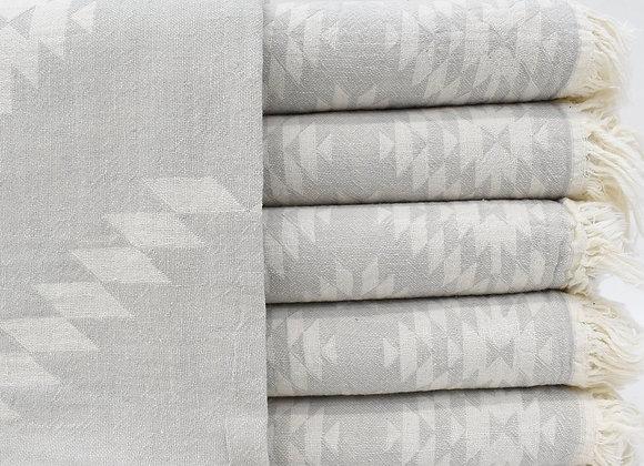 Grey Aztec jacquard Turkish beach towel