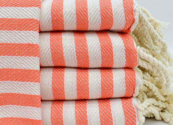 Striped hand towel -Coral