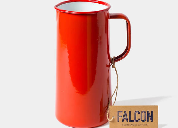 Falcon enamel 3 pint jug in Pillarbox Red
