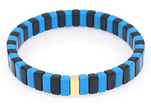 Black and blue enamel beaded bracelet
