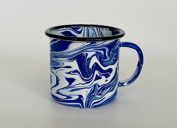 Blue and white marble effect enamel cup