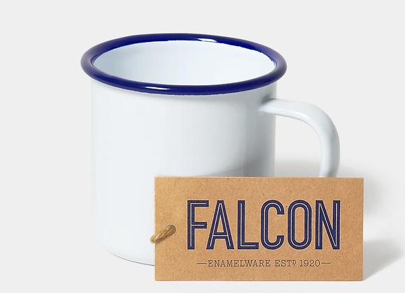 Falcon enamel mug in white with blue rim