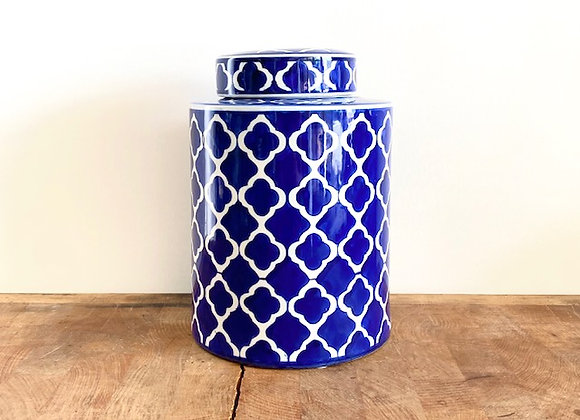 "Medium blue and white ""plum blossom""  Ginger jar"