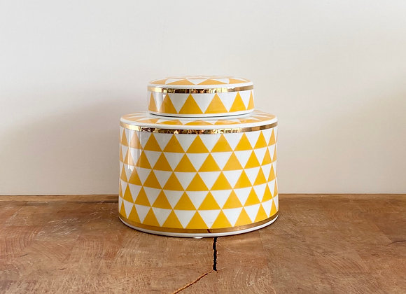 Small yellow, white and gold Ginger jar