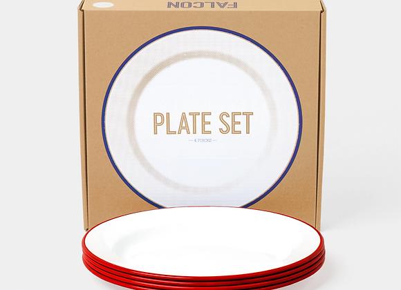 4 pack of Falcon enamel 24cm plates - pillar box red
