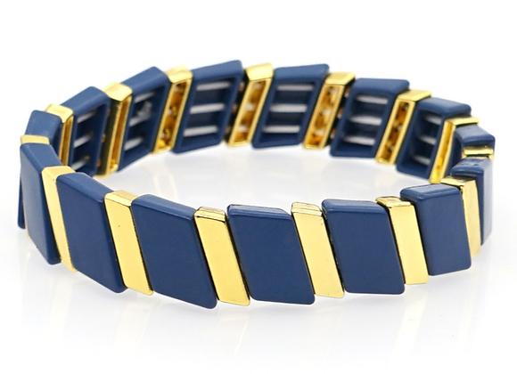 Navy and gold enamel beaded bracelet