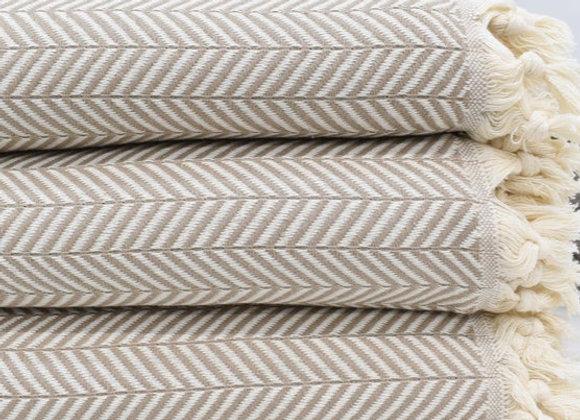 King size beige herringbone Turkish blanket/throw
