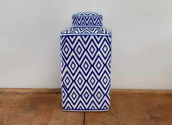 "Medium square blue and white ""diamond"" Ginger jar"