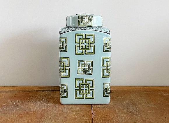 Turquoise rectangular Ginger Jar Small